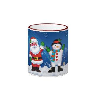 Santa and Snowman Holiday Design Ringer Mug