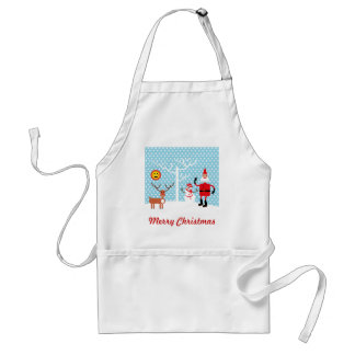 Santa and Snowman in the snow Adult Apron