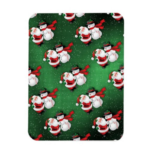 Santa and Snowmen Rectangular Photo Magnet