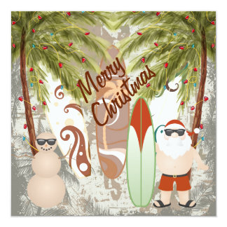 Santa and Surfboard Beach Merry Christmas Greeting Card
