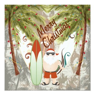 Santa and Surfboard Beach Merry Christmas Greeting 5.25x5.25 Square Paper Invitation Card