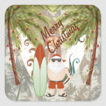 Santa and Surfboard Merry Christmas Beach Square Sticker