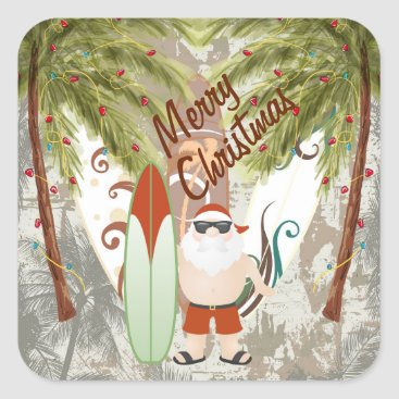 Beach Themed Santa and Surfboard Merry Christmas Beach Square Sticker