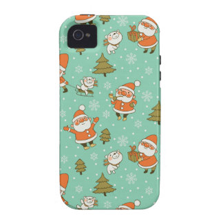 Santa and Teddy Bear Christmas Pattern. iPhone 4 Cover