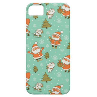 Santa and Teddy Bear Christmas Pattern. iPhone 5/5S Cover