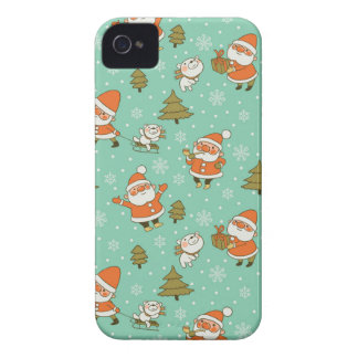 Santa and Teddy Bear Christmas Pattern. iPhone 4 Case