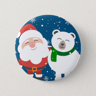 Santa and the Bear Pinback Button