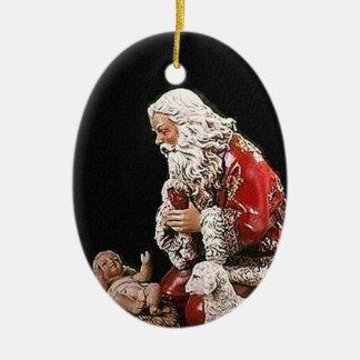 Santa and the Christ Child Christmas Ornament
