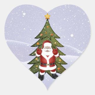 Santa and the Christmas Tree Heart Sticker