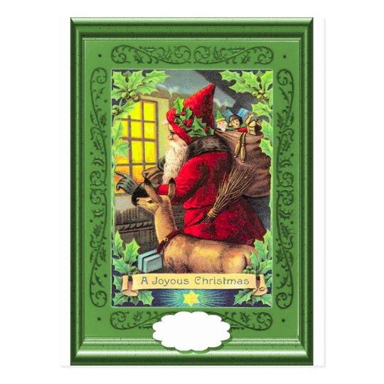Santa and the deer postcard