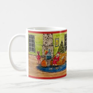 Santa and the Devil Christmas Mug