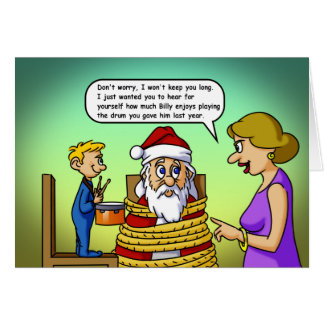 Santa And The Drum Cards