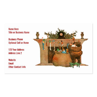 Santa and the Fireplace Double-Sided Standard Business Cards (Pack Of 100)