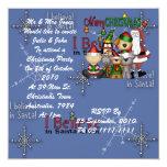 """Santa and the gang 5.25"""" square invitation card"""