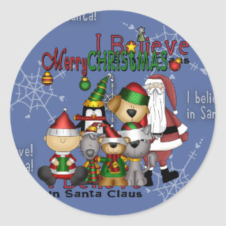 Santa and the gang classic round sticker