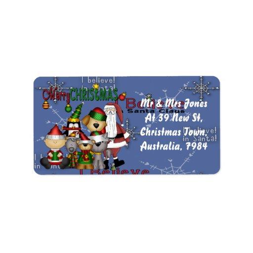 Santa and the gang custom address label