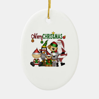 Santa and the gang no colour ornament_oval ceramic ornament