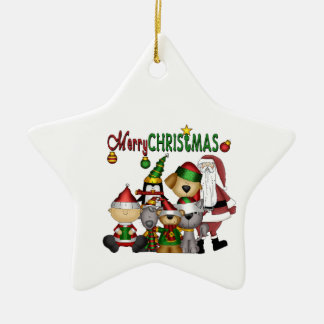 Santa and the gang no colour ornament_star ceramic ornament
