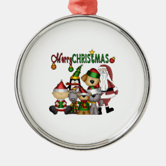 Santa and the gang no colour pj_ornament_round metal ornament