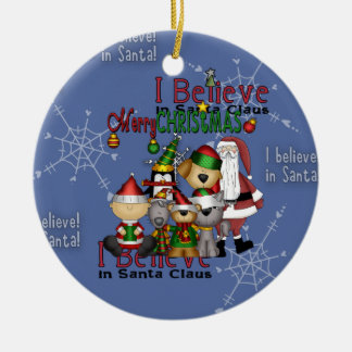 Santa and the gang ornament_circle ceramic ornament