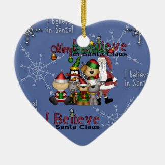 Santa and the gang ornament_heart ceramic ornament