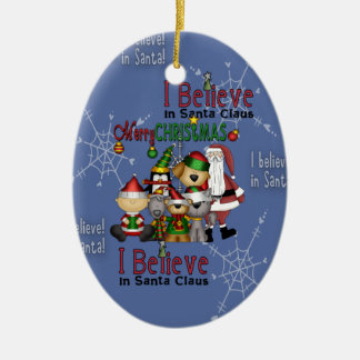 Santa and the gang ornament_oval ceramic ornament