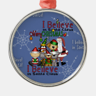 Santa and the gang pj_ornament_round metal ornament