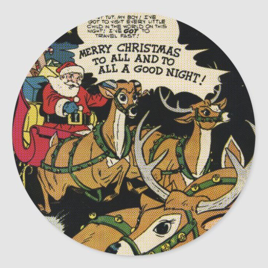 Santa and The Jet Classic Round Sticker