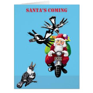 Santa and the magpies card