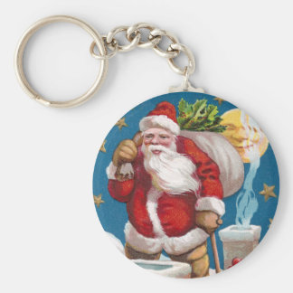 Santa and the Man in the Moon Vintage Christmas Key Chains