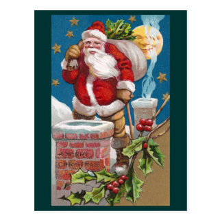 Santa and the Man in the Moon Vintage Christmas Post Card