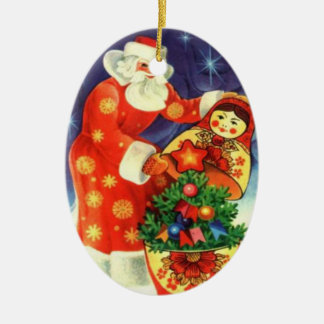Santa, and the matryoshka ceramic ornament