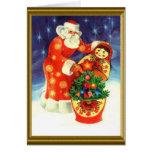 Santa and the matryoska greeting card