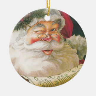Santa and the Naughty Nice List Ceramic Ornament