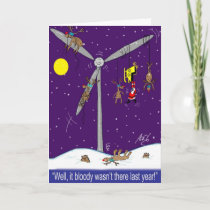 Santa and the wind farm cartoon holiday card