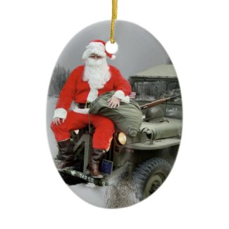 Santa and the WW2 1/4 4x4 Truck Ceramic Ornament