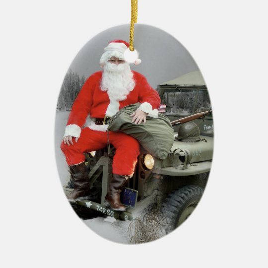 Santa and the WW2 1/4 Ton Truck Ceramic Ornament