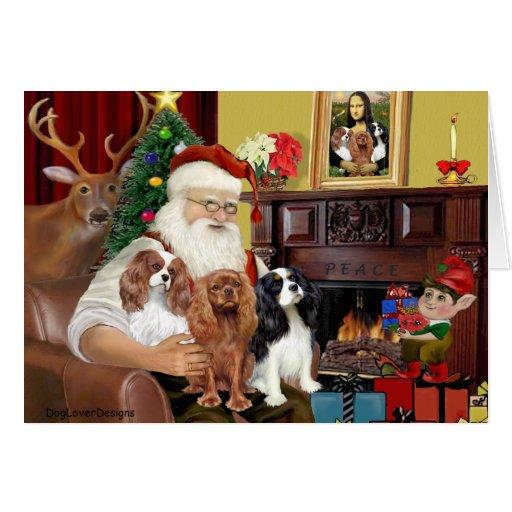 Santa and Three Cavaliers Greeting Card