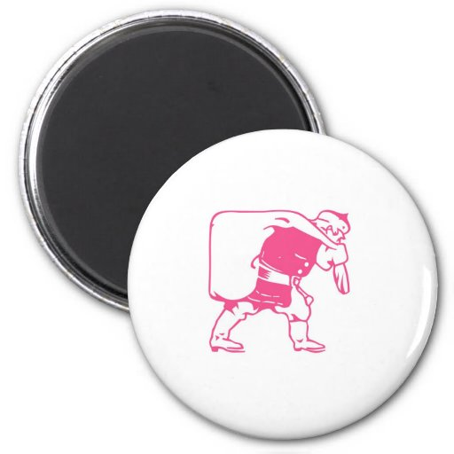 Santa and Toy Sack 2 Inch Round Magnet