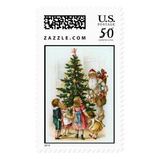 Santa and Tree  Vintage Christmas Stamps