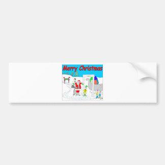 Santa and TSA cartoon - Merry Christmas Cartoon Bumper Sticker