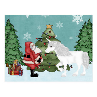 Santa and Unicorn in the Forest Magical Christmas Postcard