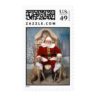 Santa and Weimaraners Postage