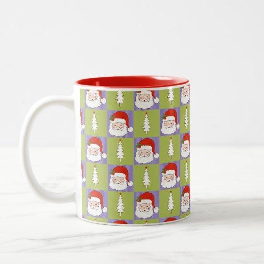 Santa and white christmas tree 2 Two-Tone coffee mug