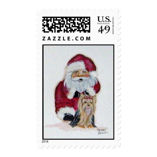 Santa and Yorkie Postage stamp