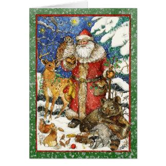 SANTA & ANIMAL FRIENDS CARD