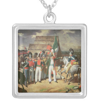 Santa Anna defies the Spanish troops Square Pendant Necklace
