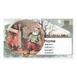 Santa antes de la chimenea llena medias tarjetas de visita
