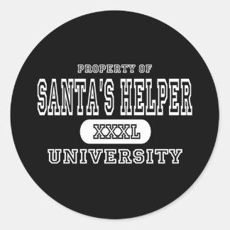 Santa's Helper University Dark Classic Round Sticker
