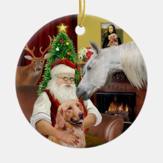 Santa - Arabian Horse and Golden Ceramic Ornament